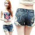 Summer Fashion Lady Lace Floral Mulheres Wash Jeans Hot Shorts Rivet Decorado Denim Curto
