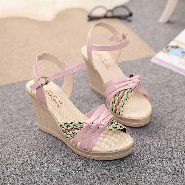 2016 Summer Fashion Women Sandals Wedges Shoes High Heel Platform Open Toe Buckle Casual
