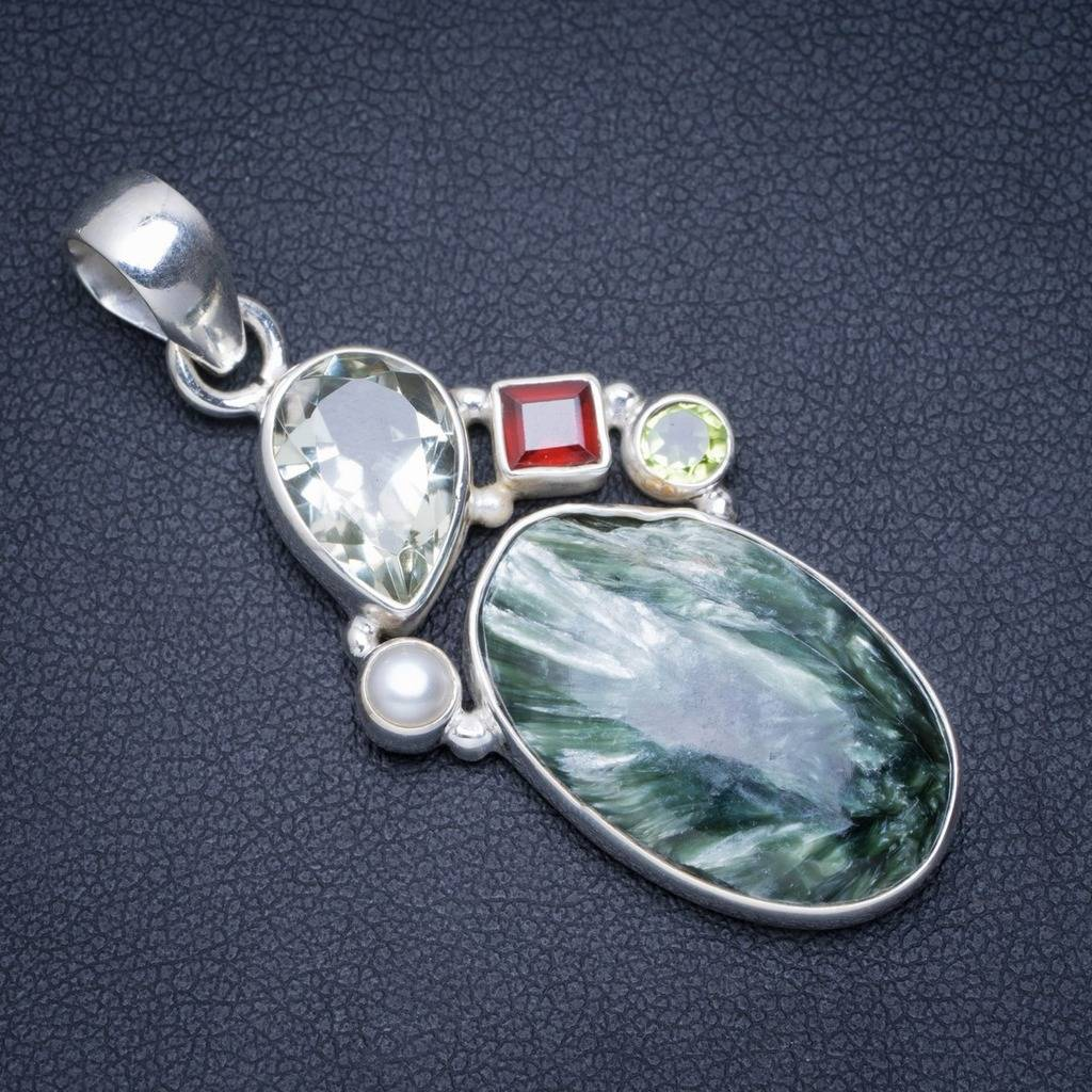 Natural Seraphinite, Green Amethyst,Garent,River Pearl and Peridot 925 Sterling Silver Pendant 2 A0064 соус паста pearl river bridge hoisin sauce хойсин 260 мл
