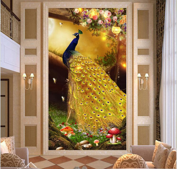 3D photo wallpapers modern art painting living room entrance hallway mural Chinese bird Peacock Magnolia large mural wallpaper