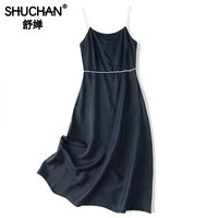 Shuchan Spaghetti Strap Dress Navy Blue Office Lady Summer Sundresses and Dresses 2019 Solid Women Designer Clothing A0268