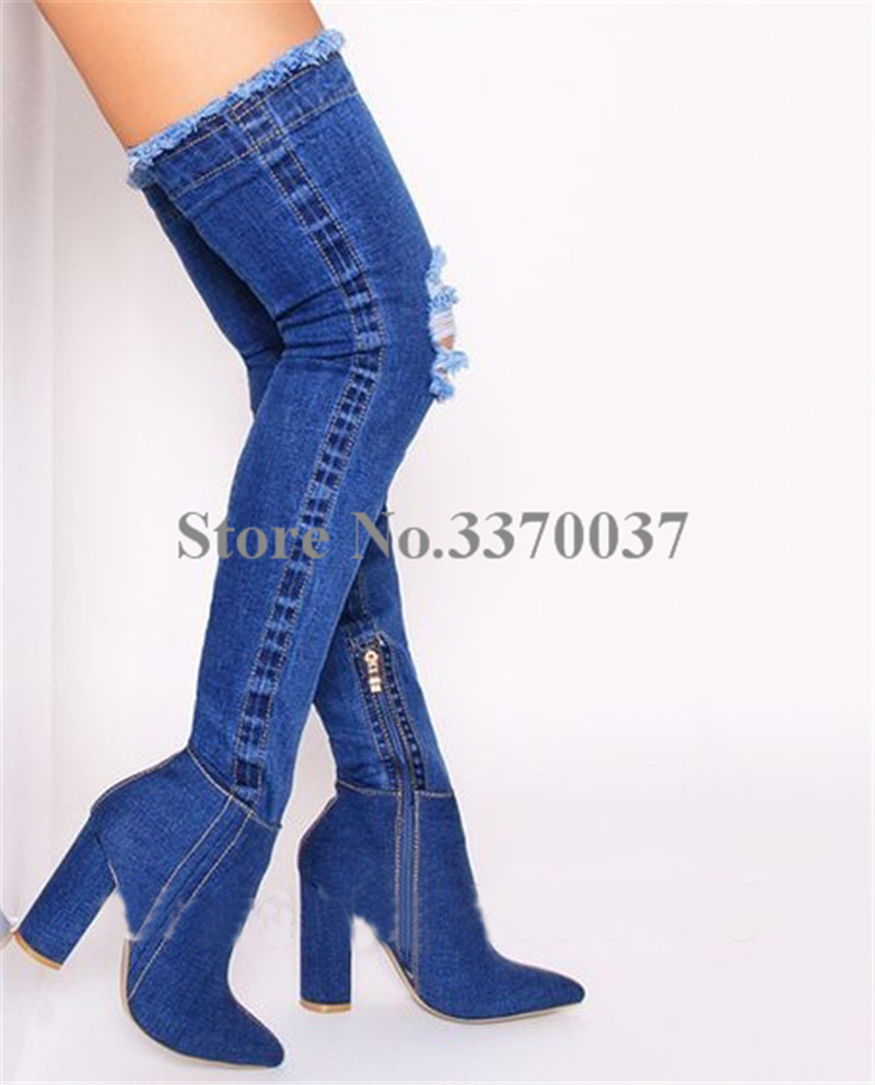 New Fashion Women Slim Style Pointed Toe Denim Over Knee Chunky Heel Boots Bandage Thick Heel Long Boots Causal Boots цена 2017