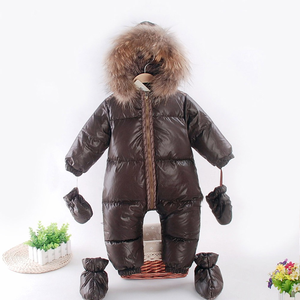 Russian Winter Baby Snowsuit Duck Down Jacket Natural Raccon Fur Collar Kids Boys Girls Snow Wear Thicken Warm Infant Jumpsuits 2 5 years russian winter baby white duck down rompers with real fur hood outdoor skit snowsuit girls clothing infant boy romper