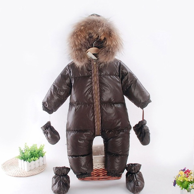 Russian winter baby snowsuit duck down jacket natural raccon fur collar kids boys girls snow wear thicken warm infant jumpsuits