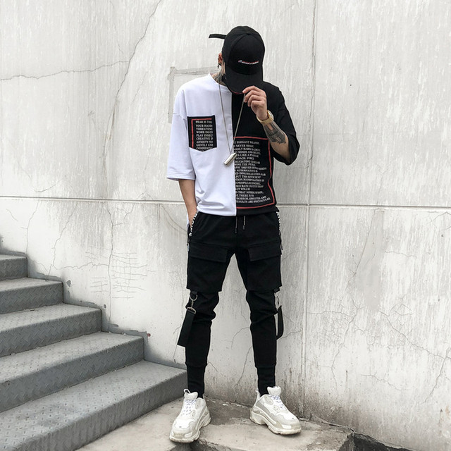 Men Multi-pocket Elastic Waist Design Harem Pant Street Punk Hip Hop Casual Trousers Joggers Male Dancing Pant 2