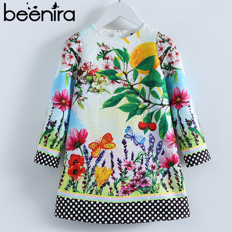 Beenira European And American Style Children Full-Sleeve Flower Pattern Princess Dress Design 4-14Y Clothes Girls Winter Dress beenira children clothes dresses 2017 new summer fashion style girls flower pattern bow princess dress for 4 14y baby girl dress