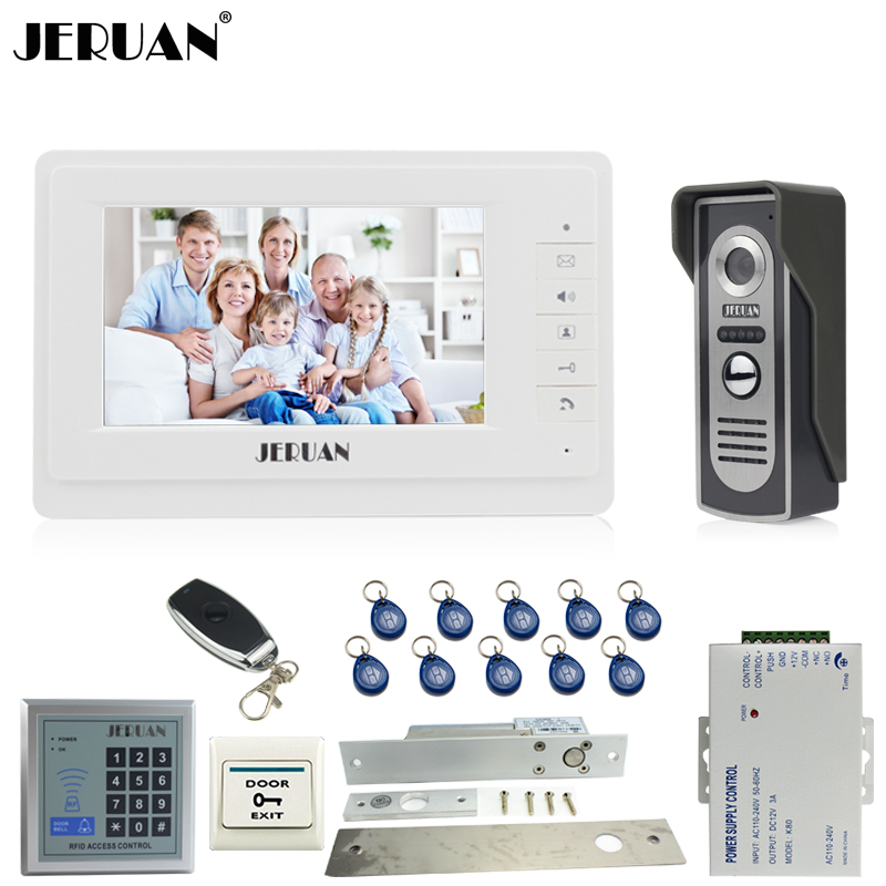 JERUAN 7 inch Video Door phone Intercom System kit 1 White Monitor 700TVL IR COMS Camera RFID Access Control Remote Control jeruan home 7 video door phone intercom system kit 1 white monitor metal 700tvl ir pinhole camera rfid access control in stock