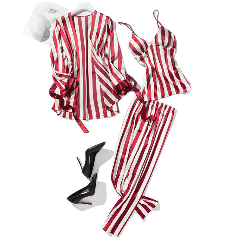 3pcs Sleep Lounge Pajama Set Sexy Faux Silk Satin Sleepwear Women Stripe Nightgown Kimono Ladies Bathrobe Long Pants Home Wear