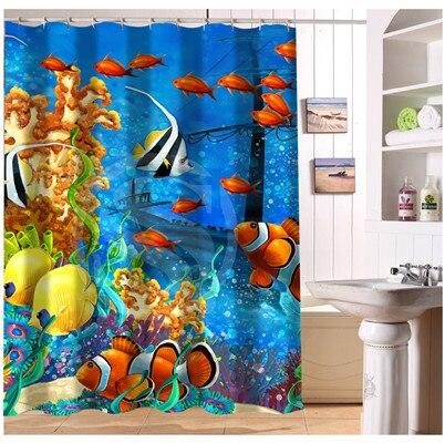 W522#85 Custom Corals Fish Underwater Modern Shower Curtain bathroom ...