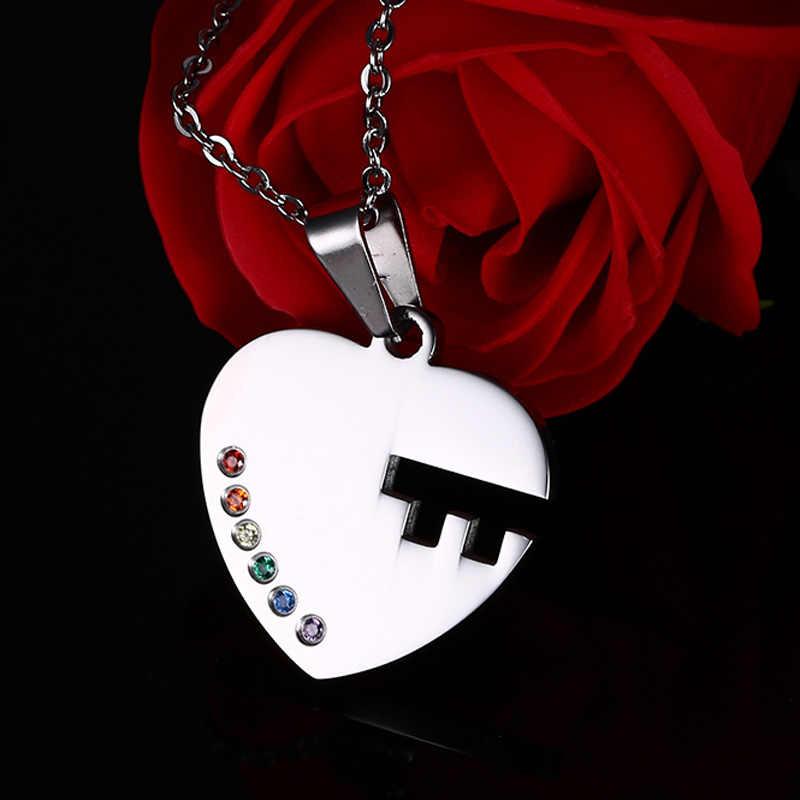 """1 zestaw ze stali nierdzewnej """"klucz do serca"""" tęczowy kryształowy naszyjnik z wisiorkiem dla Gay Lesbian Pride Promise"""
