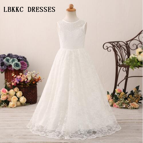 White   Flower     Girl     Dress   Lace With Tulle Floor Length First Communion   Dresses   For   Girls   Primera Comunion