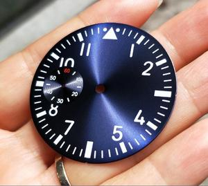 Image 2 - 38.9mm GEERVO fashion sterile luminous Number blue Five dial fit 6497 movement Mens watch dial 015A
