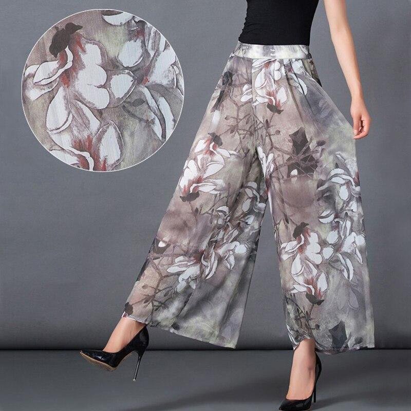 Size M-XXL Elastic Waist Summer New 2017 Women Chiffon Pants Casual Loose Ankle-Length Floral Print Chiffon Wide Leg Pants