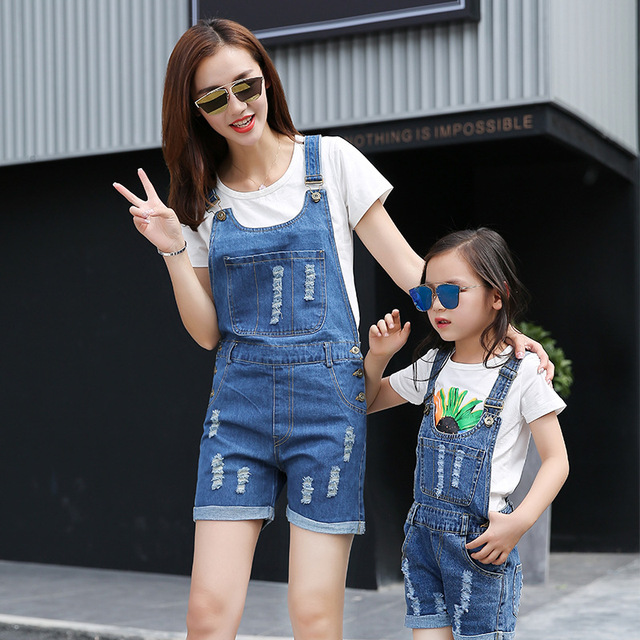 5911c2149d Mother Daughter Matching Clothes Pants Denim Overalls Mom Son Outfits  Family Matching Clothes Girls Cotton Jeans Family Clothing