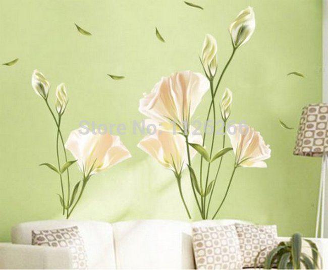 Large Flower Wall Stickers Home Decor Peel And Stick Removable PVC Art Wall Decals