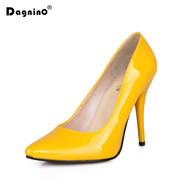 DAGNINO Heeled Shoes Women Stiletto Party Pointed Toe Sexy Wedding Fashion Pumps Patent Leather Thin high Heels Plus Size ladies real leather high heels pumps pointed toe sexy thin high heeled shoes women shine wedding party footwears size 34 39