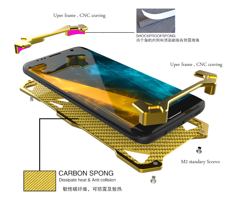 bilder für 2017 fall zimon Serie 2 Metall Fall für SAMSUNG Galaxy S6 Rand Aluminium Telefon Shell Fall