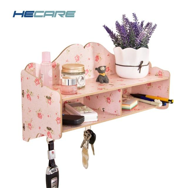 HECARE New Home Bathroom Wall Shelf Key Hook Wooden Phone Storage ...