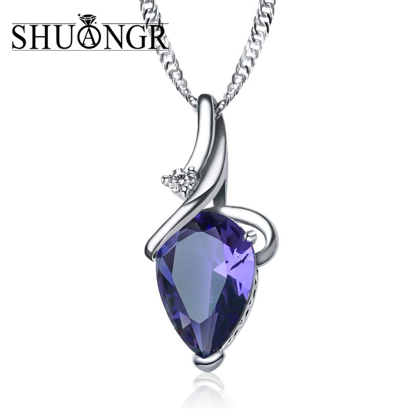 SHUANGR Women 3 Colors Crystal Rhinestone Drop Silver Color Chain Necklace Pendant For Women Jewelry Statement Bijouterie Gift