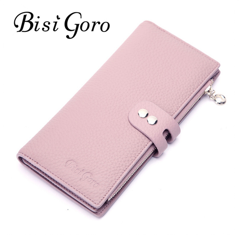 Bisi Goro Women Wallets and Purse Genuine Luxury Brand Leather Wallet Female Long Women Credit Card Holder Purse Women Card Case famous brand women female ladies long leather wallets purse phone cases carteiras femininas business id credit card holder 45