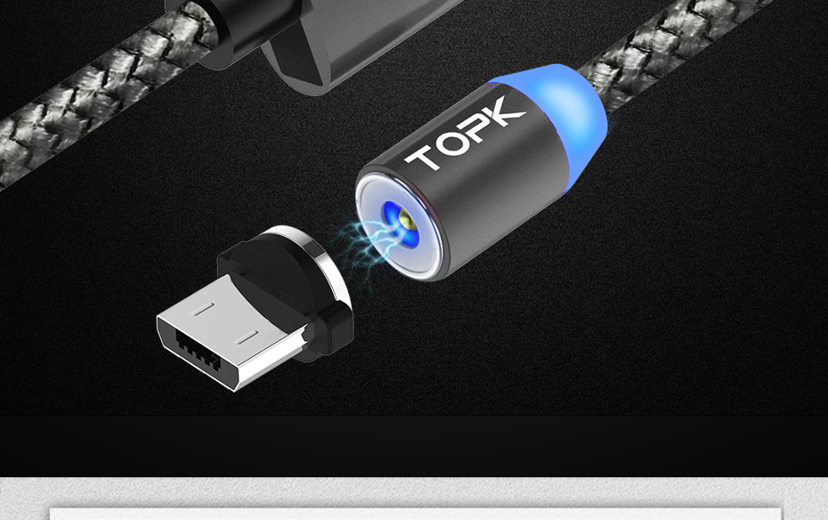 TOPK AM17 1M LED Magnetic Micro Type C USB Cable For Mobile Phones 20