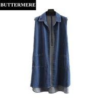 BUTTERMERE 3XL Large Size Women Vest Autumn Spring Blue Korean Vest Sleeveless With Pockets Fashion Long