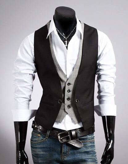 Горячая распродажа мужской костюм из двух частей жилет мужской Приталенный жилет повседневный деловой пиджак размер M-2XL - Цвет: Черный