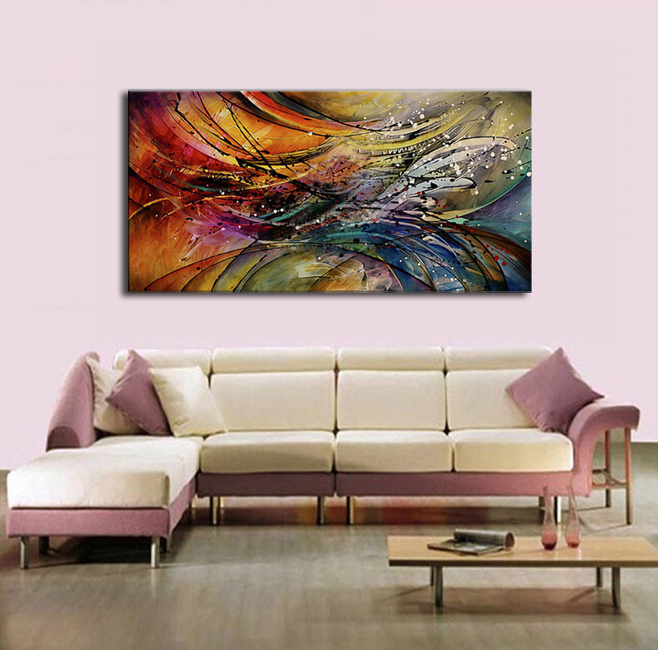 Hand Painted Modern Abstract Oil Painting Home Wall Art Canvas Set With Red White Geometric Artwork