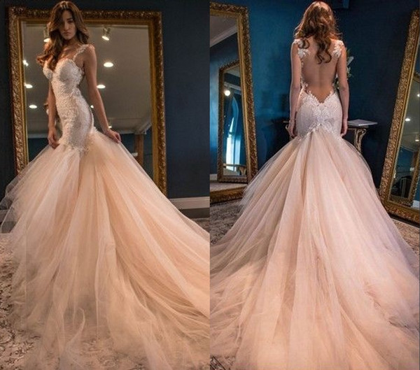 Lace Mermaid Wedding Gown With Tulle Skirt: 2018 Vintage Boho Summer Blush Mermaid Wedding Dresses