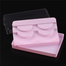 1Pc 3 Layers Eyelash Box Pink Packaging with Transparent Cover Can Contain 2 Pairs False Eyelashes Lash Case Eye Lashes Storage