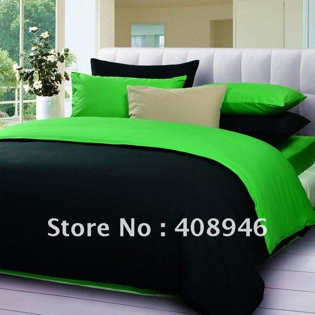 Fedex  free shipping ! wholesale- 40s 100% Sateen cotton hot black + green color luxury bedding set / 4pcs duvet cover/bed linen