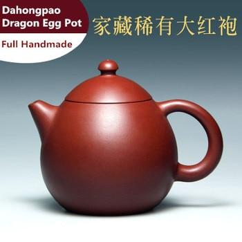 New Arrival 240cc Original Mine Yixing Zisha Teapot Dahongpao Zhu Mud Pot Pure Handmade Teapot Wu JuanHua Dragon egg pot