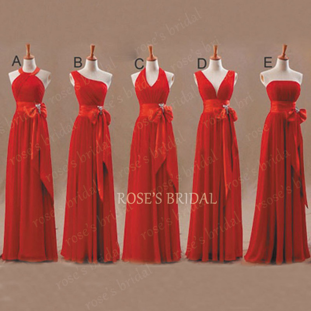 Vestido De Verao A Line Chiffon Mismatched Red Bridesmaid Dresses 2017 Long Cheap Elegant Wedding Party Dresses Summer Dress