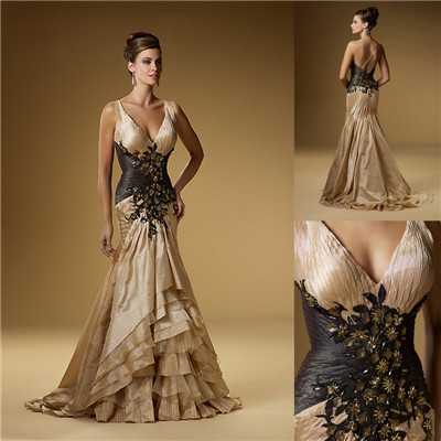Champagne long Style Mermaid   evening     dress   2015 Trumpet Crystal Beaded Appliques Spaghetti Straps V Neck Floor Length