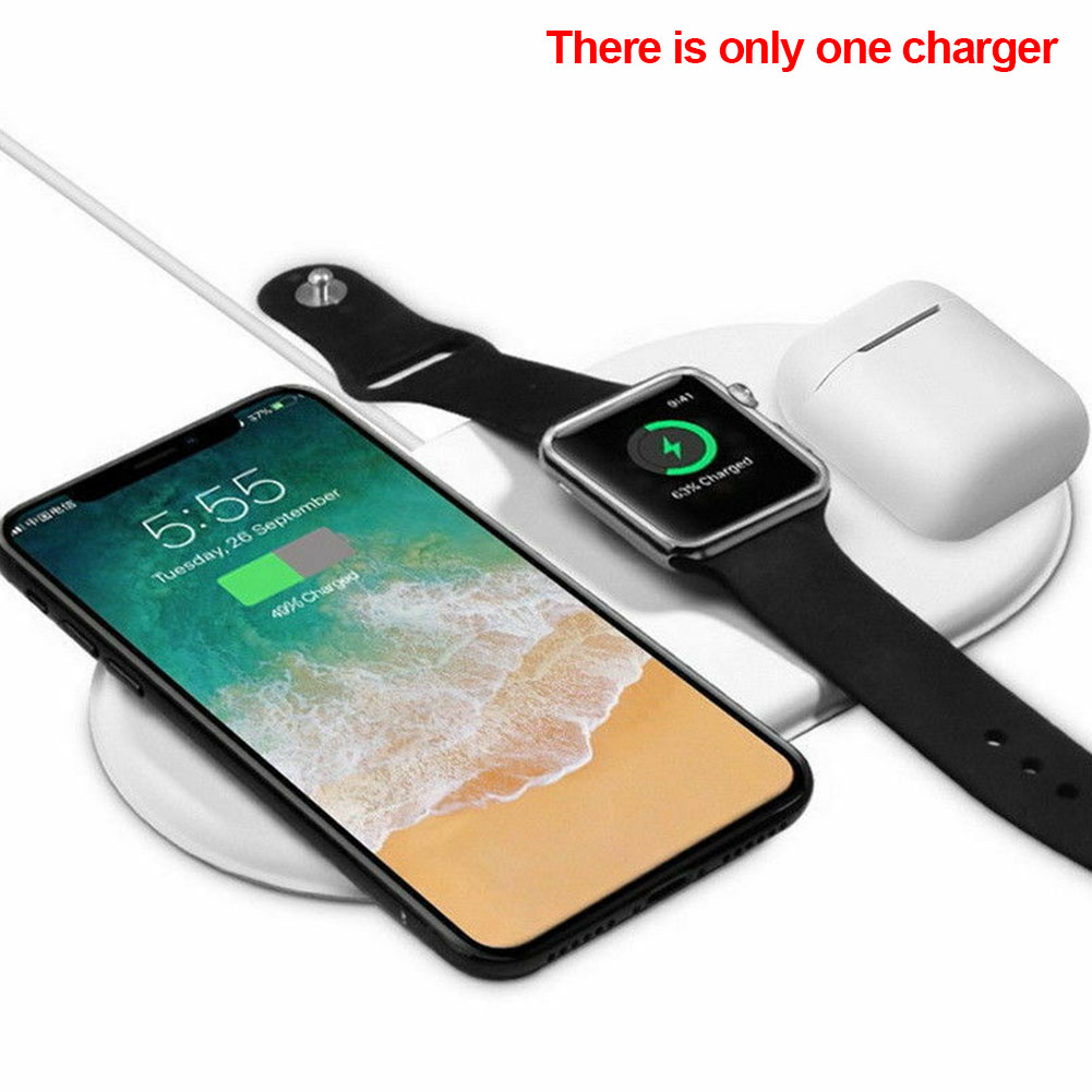 Anti skid Travel Accessory Portable Office Bedside Watch Earphone Wireless Charger Desktop 3 In 1 Fast Qi Station For IPhone X