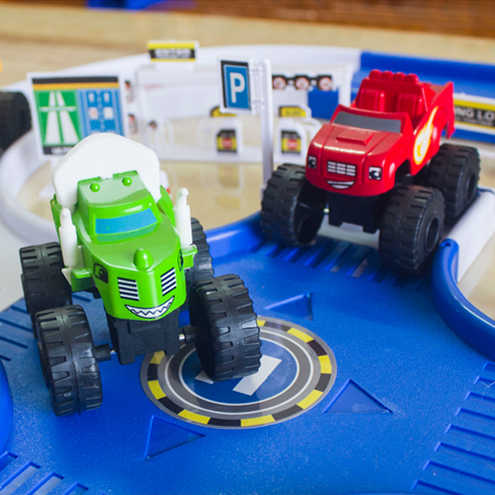 DIY Rakasa Mesin Rusia Mainan Anak Kebakaran Keajaiban Mengikuti Mobil Blaze Kendaraan Jalan Mobil Model Mainan Hadiah Terbaik untuk Anak-anak