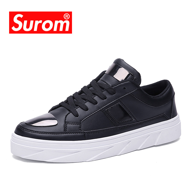 SUROM Fashion Sneakers Men Casual Shoes Metal Sequins Decoration Luxury Brand Spring Autumn New Breathable Sneakers For Men 2017 new autumn winter british retro men shoes zipper leather breathable sneaker fashion boots men casual shoes handmade