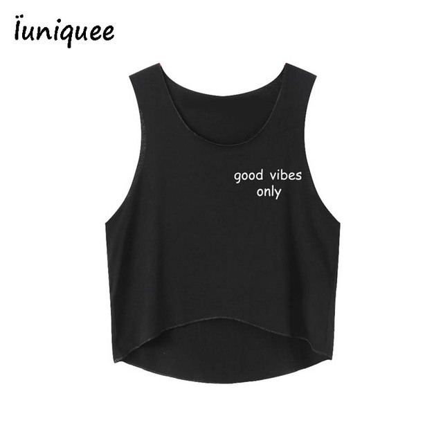 b961b5aabf2381 2017 Good Vibes Only Letters White Crop Tops Summer Harajuku Sexy Short Tank  Tops Fitness Women Cropped Cute Fashion Loose Vest