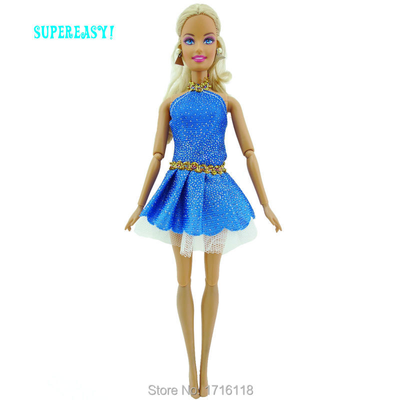 784f247485a1 Fashion Mini Dress Summer Wear Dinner Party Cute Gown With Belt Blue Clothes  For Barbie Doll 11.5