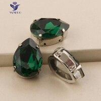 YANRUO 4320S Drop Emerald Pointback Rhinestones Claw Glass Stones Sew On Crystals Droplet Fancy Rhinestone Craft Clothes