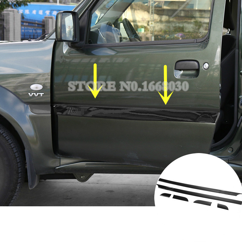 Black ABS Side Door Body Molding Cover Trim 6pcs For Suzuki Jimny 2007-2015 mopai abs exterior outer car body door side decorative sticker moulding trim car cover styling for suzuki jimny 2008 up
