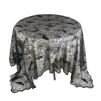 1 Pcs Lace Black Spider Bat Web Halloween Tablecloth Tablecover Creative Halloween Decoration Decor Props Party