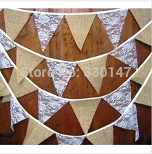 11 Flags /pack Fabric and Lace Flag Banner Rustic Hessian Country Garland / Bunting Home Wedding Decoration Nearly 3M