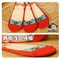 Princesa dulce lolita calcetines zapatillas Lindo poka dot arco rojo de dibujos animados princesa 100% algodón boca baja calcetines invisibles