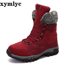 2020 New Women Boots High Quality Leather Suede Winter Boots Women Keep Warm Lace-up Waterproof Snow Boots Botas mujer leopard printed suede lace up snow boots