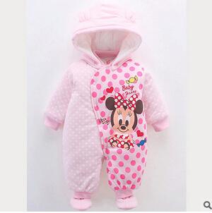 2016 novos dos desenhos animados do bebê macacão Romper escalada roupas de algodão acolchoado lados tesouro roupas quentes