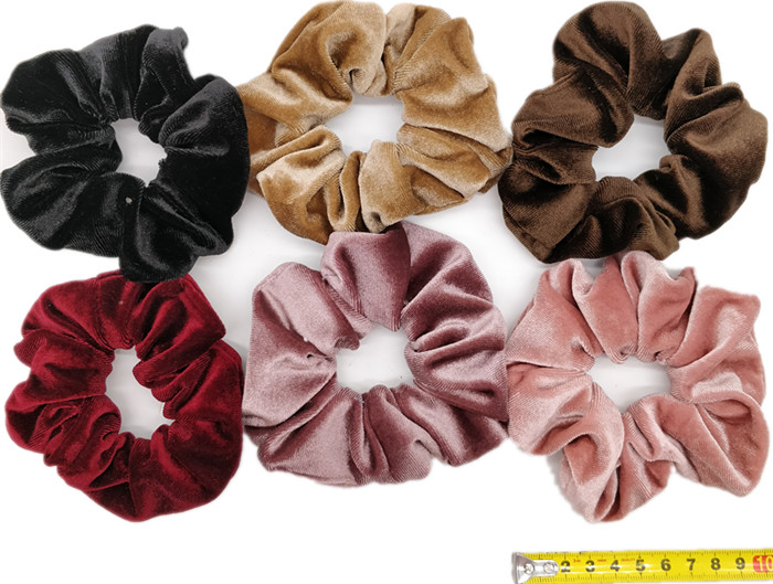 6 шт/лот Бархатные эластичные резинки для волос, резинки для волос для девочек, не складываются, леопардовые женские большие мелкие блестки из шифона с цветочным рисунком - Цвет: PJ051-B-6PCS