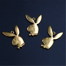 WKOUD 8pcs Antique Golden Handsome rabbit gentleman charm earring Necklace DIY jewelry alloy Pendants 31*21mm A1250