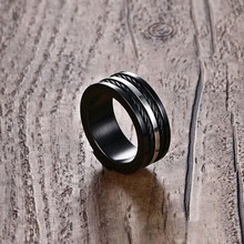 Meaeguet Wire Black For Men 9MM Wide Male Party Stainless Steel Cables Rings