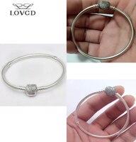 Otantik 925 Gümüş Boncuk Charm Kristal kalp aşk gürlemesi Yılan Zincir Boncuk yüzük Bilezik Bileklik DIY Takı 171819